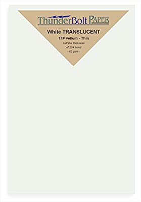 "300 Soft Off-White Translucent 17# Thin Sheets - 4.5"" X 6.5"" (4.5X6.5 Inches) Invitation 1/2"" Smaller than 5X7 Size - Light Weight Fine Quality Paper - Tracing - Not a Clear Transparent"