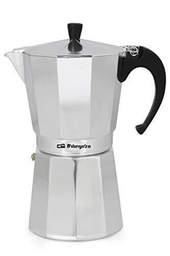 Orbegozo KF 1200 – Cafetera Italiana de Aluminio, 12 Tazas, Tapón de Seguridad, Filtro Desmontable