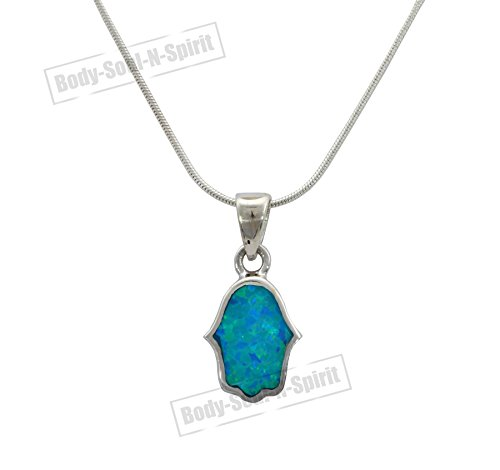 (925 sterling Silver Hamsa hand of god lucky Charm necklaces opal holyland gift)