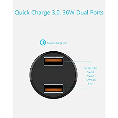 Wishinkle UL Certified Car Charger, Dual QC3.0 Port 36W Fast Charging Mini Cigarette Lighter USB Charger Quick Charge Compatible with iPhone 11/11 pro/XR/X/XS, Samsung Note 9/Galaxy S10/S9 and More
