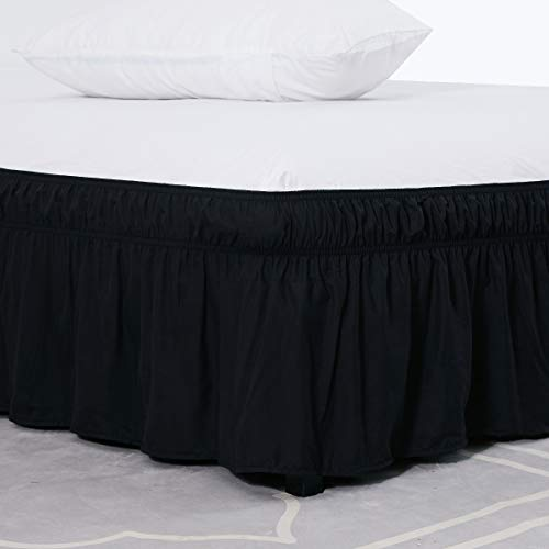 (XUANDIAN Wrap Around Bed Skirt -Polyester/Microfiber Elastic Dust Ruffle Three Fabric Sides Silky Soft & Wrinkle Free Classic Stylish Look in Your Bedroom (Black, Twin/Full,16 Inch))