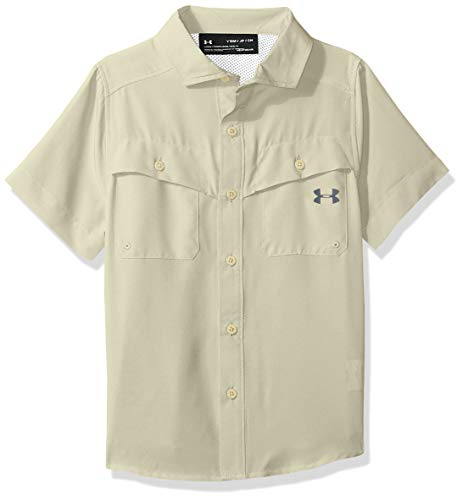 Under Armour Boys' Big Outdoor Woven Button Up, Beige/Khaki YMD
