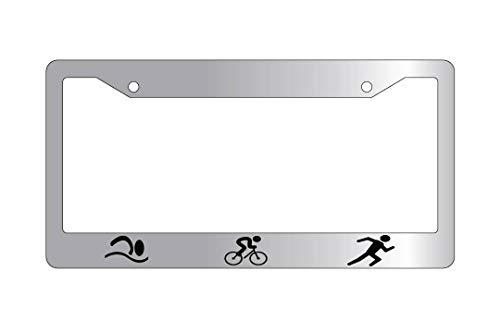 Bike Blocks Run Swim - Triathlon Bike Swim Run License Plate Frame Tag, Aluminum Metal License Plate Cover with Screw Caps - 2 Holes Car License Tag Holder for US Vehicles