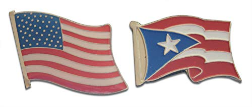 Puerto Rico Territory & United States American Flag Lapel Pin or Hat Pin & Tie Tack Set with Clutch Back by Novel Merk ()
