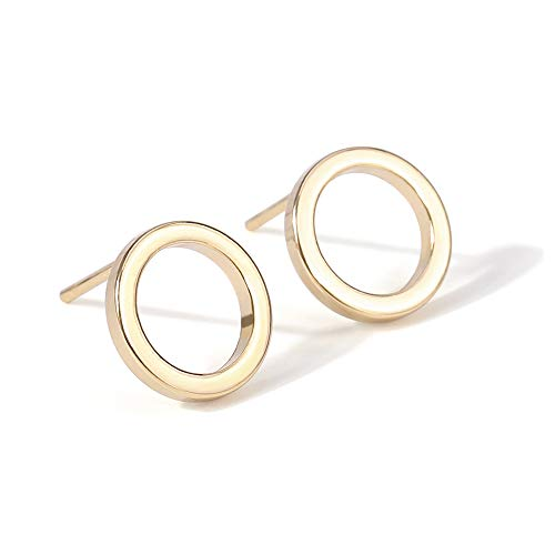 18K Gold Circle Stud Earrings 10MM Small Round Hoop Post Stud for Women Minimalist Jewelry Unisex