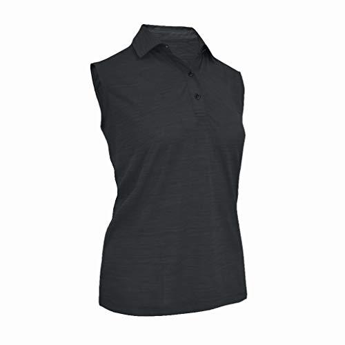(Monterey Club Ladies Melange Jersey 3 Buttons Sleeveless Shirt #2423 (Black, X-Large))