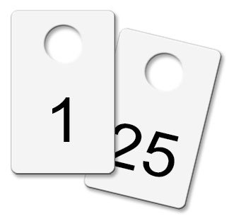 Coat Check Tags - White Metal (Numbered 1-25)