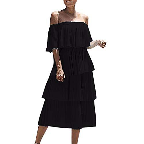 FEITONG Off Shoulder Ruffles Dress Women Solid Slash Neck Half Sleeve Evening Party Layered Dresses(Black,Medium)