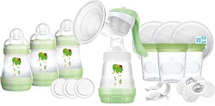 MAM - Juego de sacaleches con accesorios para principiantes, contiene bomba sacaleches y biberones anticólico autoesterilizables, color verde