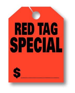 Donkey Auto Products Car Mirror Hang Tags - Jumbo Fluorescent (50 per pack) (Red Tag Special)