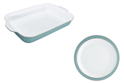Denby Azure Large Oblong Dish and Salad Plate, Set of 2 (Oblong Salad Plate)