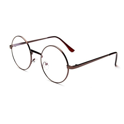 DEESEE(TM) Unisex Classic Metal Frame Mirror Rounded Glasses (As the picture, - Glasses Round Mens