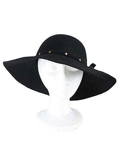 David & Young Women's 100 Percent Wool Floppy Hat with Self Felt Bad, Black, One Size (Felt Sombrero)