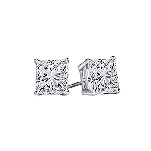 Dazzlingrock Collection AGS CERTIFIED 0.10 Carat (ctw) 14K Princess White Diamond Ladies Stud Earrings, White Gold