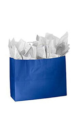 Large Glossy Royal Blue Paper Shopping Bags - Pack of 100 by STORE001