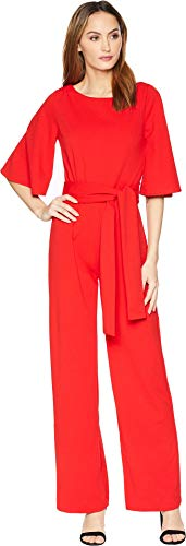 Alexia Admor Women's 3/4 Sleeve Boat Neck Jumpsuit Red 6