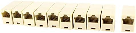 NA 10 pcs RJ45 8P8C CAT6 Female to Female Beige Network Cable connectors