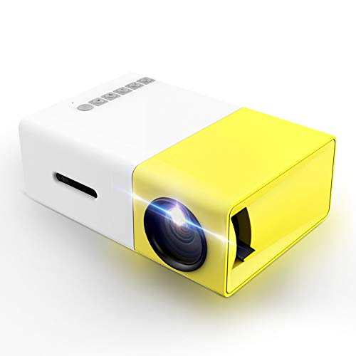 Projector, LoongSon Mini Portable LED Projector, Smartphone Pocket Projector with AV USB SD HDMI for Video/Movie/Game/Home Theater Video Projector (Yellow) from LoongSon