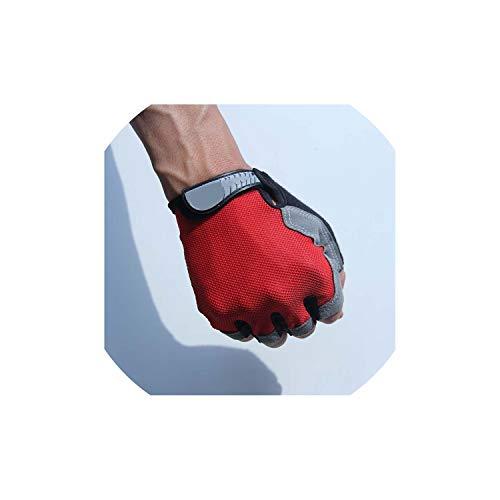 (Sports Gym Gloves Men Fitness Training Exercise Anti Slip Weight Lifting Gloves Half Finger Body Workout Men Women Glove,Red,M)