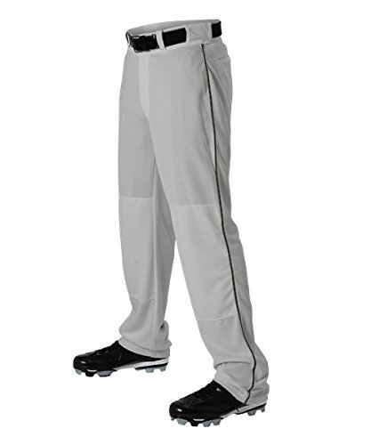 Alleson Athletic Alleson Adult Braided Hemmed Baseball Pant Youth, Grey/Dark Green, Youth Small ()