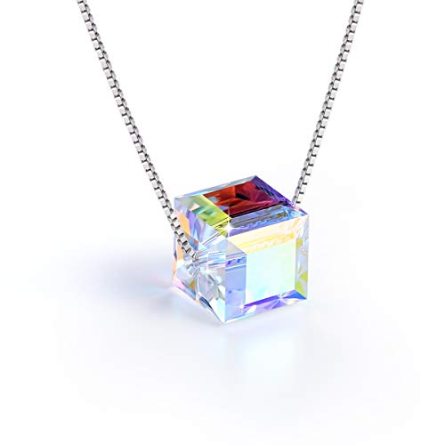 ❤ S925 Sterling Silver Necklace ❤ Aurora Crystals from Swarovski - Cubic Pendant Necklace for Women - Allergy Free Jewelry Gifts for Mother Daughter Girls - Gift ()