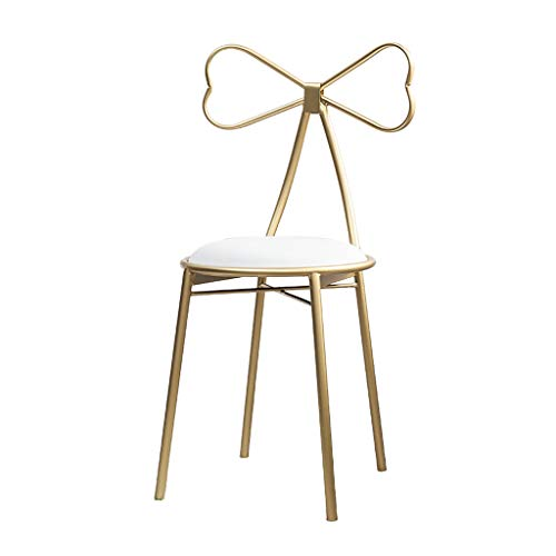 Family History Bow tie Anchor Chair, Nordic Style Gold Girl Makeup Chair Iron Art Metal Armchair Theme Dining Chair Beauty Dressing Table Leisure Chair Decoration Furniture ()