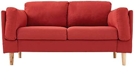 Panana 2 Seater Linen Upholstered Fabric Modern Sofa Settee Couch with Wood Legs for Home Furniture Living Room Lounge Red