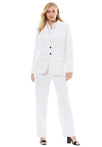(Jessica London Women's Plus Size Single Breasted Pant Suit - White, 18)