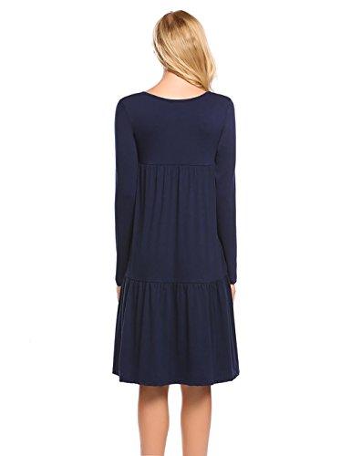 Tasche Blu Da Shirt O A Maglia Lunga Bluetime Le Collo Per Manica Volant Donne Vestiti Con T Navy ABSqnUT