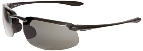 Brand X Safety X1 Series Safety Glasses with Adjustable Bridge and Bayonet Temples, Polarized Gray Lens, Matte Black Frame (Box of 10 Pairs)