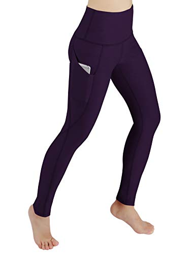 ODODOS Women's High Waist Yoga Pants with Pockets,Tummy Control,Workout Pants Running 4 Way Stretch Yoga Leggings with Pockets,DeepPurple,Large