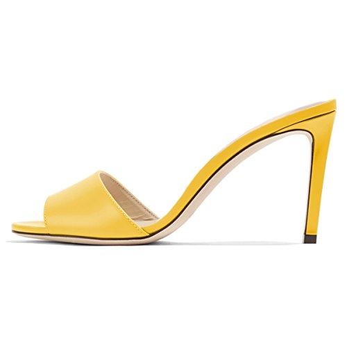 FSJ Women Casual Peep Toe Mule Sandals Stiletto High Heels Party Evening Shoes Size 8.5 Yellow