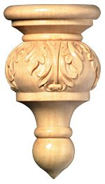White River # CM2398-MA, Small Acanthus Finial, 2 pcs, 1-1/4 inch W x 5/8 inch D x 2-1/8 inch H, Maple