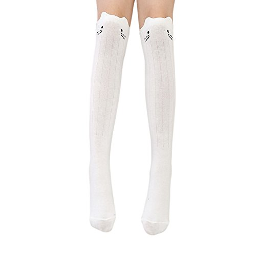 BAOBAOLAI Toddler Girls Cotton Knee High Socks Kids Cute Cat Face Striped Socks for 3-12Years Striped Cat Face