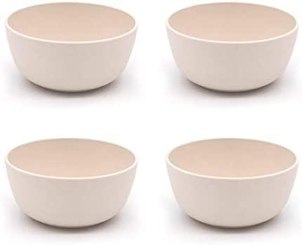 Various 4 Piezas Cuencos de bambú, 500 ml. Apto para Lavavajillas y Microondas-Blanco