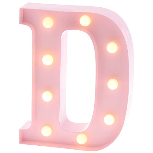 Barnyard Designs Metal Marquee Letter D Light Up Wall Initial Nursery Letter, Home and Event Decoration 9