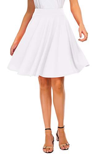 EXCHIC Women's Basic Skirt A-Line Midi Dress Casual Stretchy Skater Skirt (XL, White)
