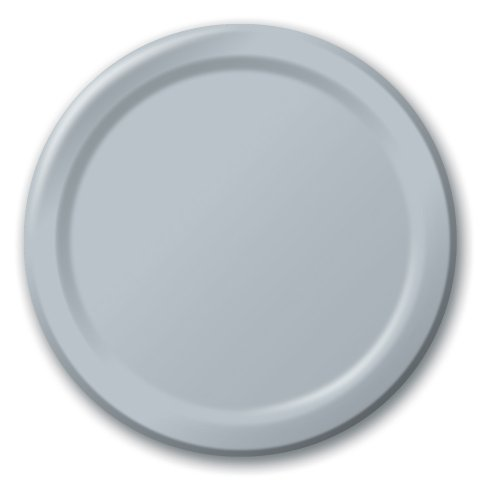 Creative Converting Touch of Color 24 Count Paper Banquet Plates, Shimmering Silver