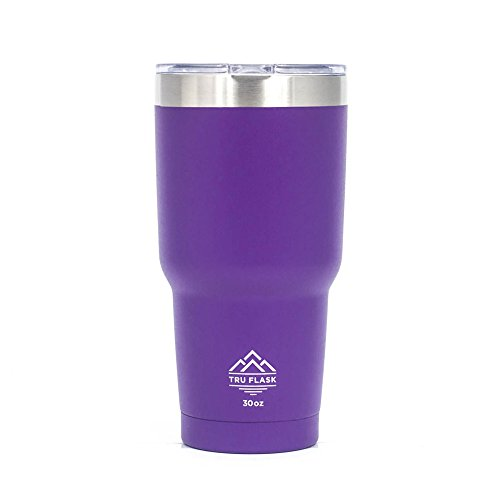 Tru Flask Stainless Steel Double Wall Vacuum Insulated Travel Mug and Thermos - Ideal Coffee Mug and Tumbler for Hot and Cold Drinks - 30 OZ (PURPLE)