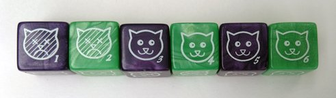 Cat Dice, 6 pack (Purple and Green) by CATTHULHU (Image #2)