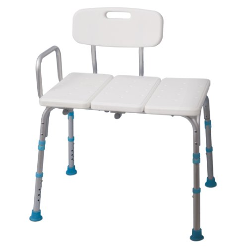 (Aquasense Adjustable Bath and Shower Transfer Bench with Reversible Backrest)