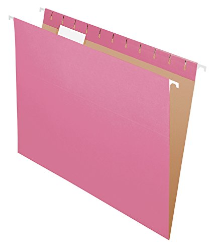 Pendaflex Recycled Hanging Folders, Letter Size, Pink, 1/5 Cut, 25/BX (Pink Hanging File Folders)