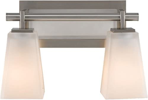 Feiss VS16602-BS Clayton Glass Wall Vanity Bath Lighting, Satin Nickel, 2-Light 13 W x 9 H 200watts