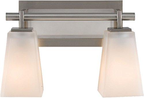 (Feiss VS16602-BS Clayton Glass Wall Vanity Bath Lighting, Satin Nickel, 2-Light (13