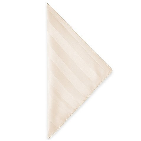 Ultimate Textile (2 Dozen) Satin-Stripe 20 x 20-Inch Cloth Dinner Napkins - for Wedding and Catering, Hotel or Home Dining use, Ivory Cream