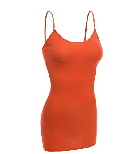 (Emmalise Women Basic Built in Bra Spaghetti Strap Cami Top Tank - Orange,)