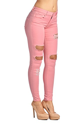(ICONICC Women's Stretch Denim and Cotton Skinny Jeans Pants Pink (JP1020,Pink,5))