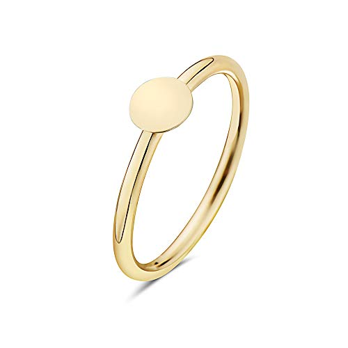 - PORI JEWELERS 14K Solid Yellow Gold Geometric Shapes Minimalist Trendy Rings - All Shapes (Disc, 6)