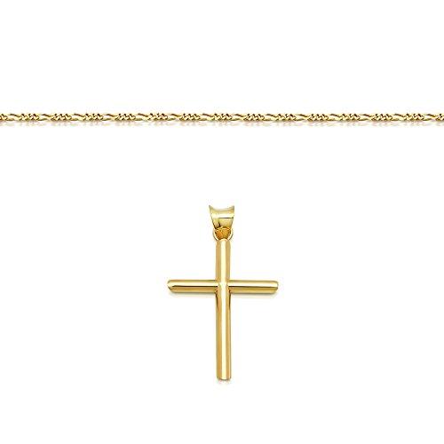 DTLA Solid 14K Gold Figaro Chain Cross Pendant Necklace - 18'' by DTLA Fine Jewelry (Image #2)