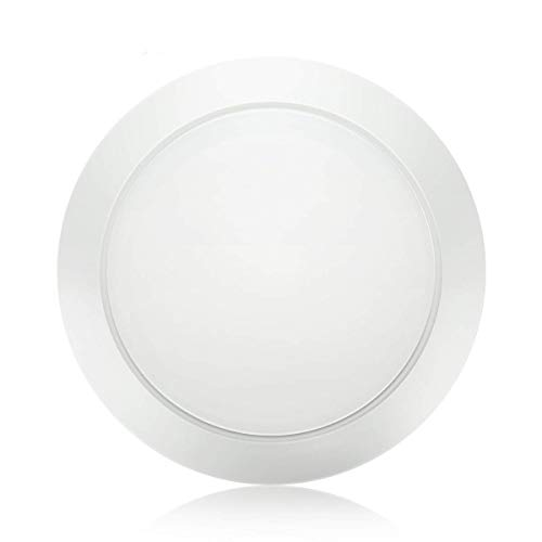 ble LED Disk Light Flush Mount Ceiling Fixture with ETL FCC Listed, 950LM, 15W (90W Equiv.), Natural White, 4000K, White Finish, Ultra-Thin, Round LED Light for Home, Hotel, Office ()